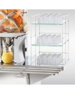 Glass Display for the Citrocasa Juicer on a Stainless-Steel Cart